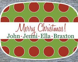 personalized christmas platter polkadot platter etsy