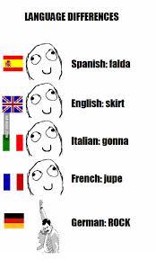 German Language Meme - language differences spanish falda english skirt italian gonna