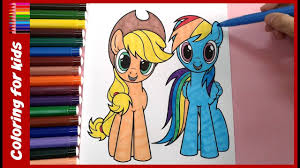 my little pony applejack rainbow dash coloring book mlp