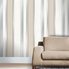 synergy glitter stripe wallpaper in taupe and silver m0784