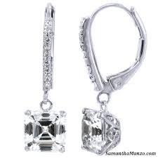 leverback diamond earrings 2 7ct asscher cut pave dangle drop cz diamond leverback earrings