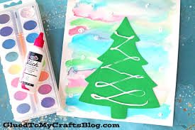 watercolor winter art scene kid craft glued to my crafts