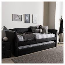 Leather Daybed With Trundle Camino Modern And Contemporary Faux Leather Upholstered Daybed