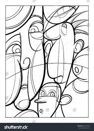 cubist faces fun coloring page vector stock vector 586143692