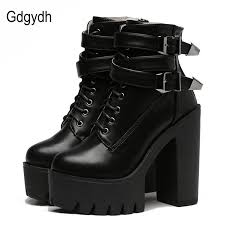 womens boots leather black 2017 leather boots high heels platform buckle lace up