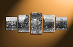 Eiffel Tower Home Decor 5 Piece Black And White Eiffel Tower Group Canvas