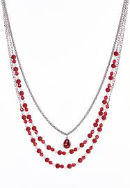 multi layered necklace images Red bead multi layered necklace long cato fashions jpg