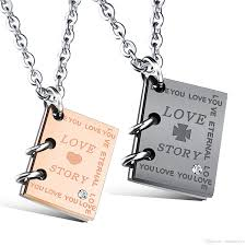 necklace story images Wholesale personalized couples book necklace in stainless steel jpg