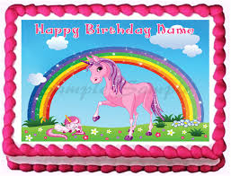 edible images for cakes pink unicorn rainbow image edible cake topper decoration ebay