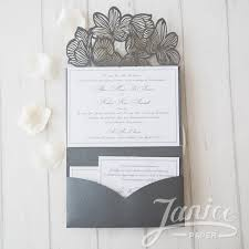 exquisite flower tri fold laser cut wholesale pocket wedding