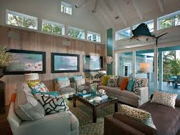 beach coastal living room with grey sofa and patterned area rug