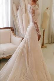 Chapel Train Wedding Dresses Scalloped Lace Chapel Train Trumpet Long Sleeves Wedding Dress