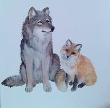 fox and wolf by misha1153 on deviantart