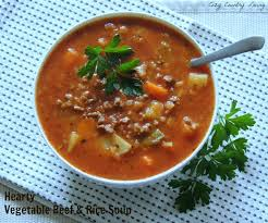 hearty vegetable beef u0026 rice soup cozy country living