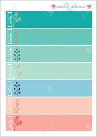 weekly planner pastel color sweet with ornaments royalty free
