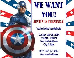 birthday invites appealing captain america birthday invitations