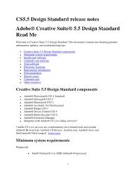 adobe creative suite 5 design standard creative suite 5 5 design standard read me adobe creative suite
