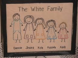 primitive stitchery sampler stick people family