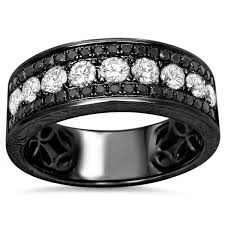mens black diamond wedding band noori 14k black gold men s 1 2 5ct tdw white and black diamond