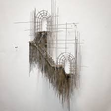 artist creates architectural 3d sketch like wire sculptures