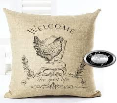 Designerk Hen Farmhouse Cotton Linen Cushion 45cm X 45cm Design Hen U0026 Co Free