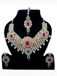 ladies necklace designs images Pink stone studded designer indian fancy ladies jewellery earrings jpg