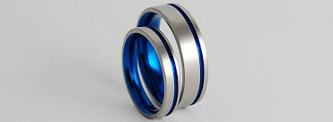 blue titanium wedding band wedding bands titanium rings titanium wedding ring set