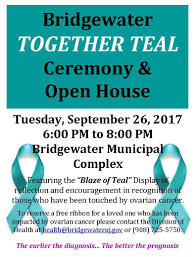 teal ribbons ribbons being around bridgewater to raise awareness about