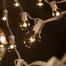 Patio String Lights White Cord by Amazon Com 50 Foot G40 Globe Patio String Lights With Clear Bulbs