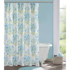 Bath And Beyond Shower Curtains Bathroom Tikal Ikat Shower Curtain With Wainscoting And Pedestal