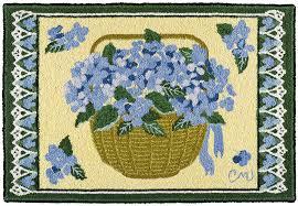 hydrangea basket 2x3 hooked rug murray