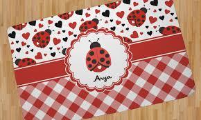 Ladybug Area Rug Ladybugs Gingham Area Rug Personalized Youcustomizeit
