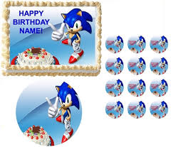 sonic the hedgehog cake topper sonic the hedgehog pointing party edible cake topper frosting