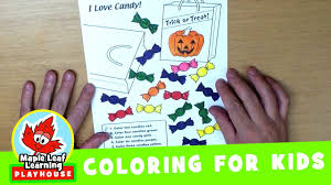 halloween candy coloring page for kids maple leaf learning