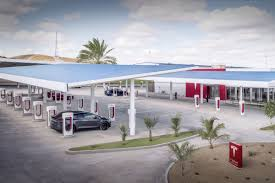 truck tesla tesla unveils its largest supercharger station in the us u2014 and it