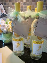 neutral baby shower party prizes barefoot wine and starbucks