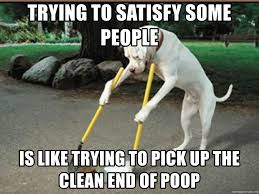 Dog Poop Meme - trying to satisfy some people is like trying to pick up the clean