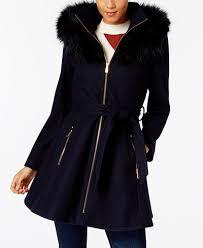 laundry by shelli segal laundry by shelli segal faux fur trim skirted coat coats women