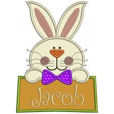 big easter bunny bunny with a big sign applique machine embroidery design digitized