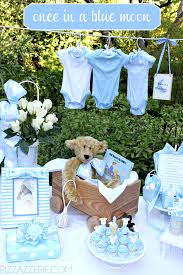 blue baby shower decorations once in a blue moon baby shower pizzazzerie