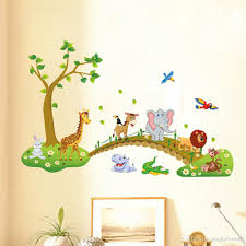 kids babies boys girls room wall decor poster cartoon animals kids babies boys girls room wall decor poster cartoon animals lined up to walk across the bridge wall decals forest animals home wall stickers horse wall