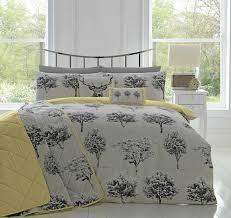 Grey And Yellow Bedroom by Appletree Yellow Grey Woodland Trees Duvet Cover Reversible Easy