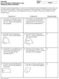 of triangles parallelograms and trapezoids partner worksheet