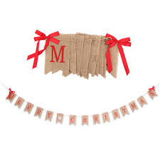 2017 new arrival flags linen merry flag with bows rope