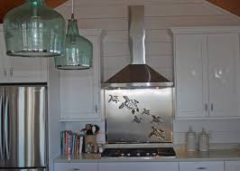 Stainless Steel Backsplash With Sea Turtles R Mended Metals LLC - Stainless steel backsplash