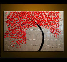 hand made oil painting on canvas palette knife red tree flowers