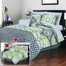 Green King Size Comforter Gray Lime Green White Geometric Polka Dot 10 Piece Comforter Set