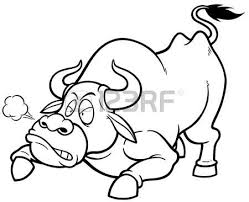 vector illustration cartoon bull coloring book royalty free