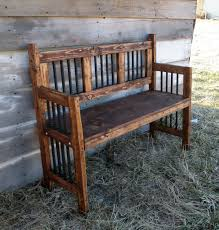 wedding guest book alternative rustic wood bench with backs image
