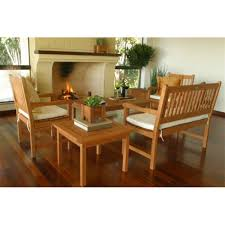 Wooden Outdoor Lounge Furniture Eucalyptus Patio Conversation Sets Outdoor Lounge Furniture